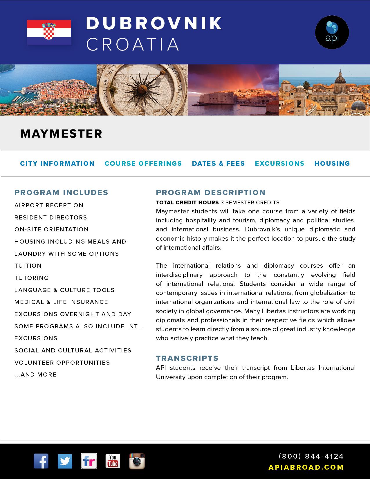 API Study Abroad in Croatia